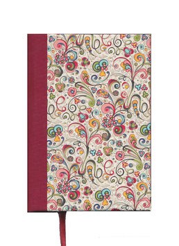 Kalender / Buchkalender / Tageskalender 2021 DinA5, Florentiner Papier, kleine Ornamente bunt gold