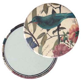 Taschenspiegel / Handspiegel oder Flaschenöffner mit Magnet  ,Handspiegel, mit Echtglas ,Button, 59 mm Durchmesser,Florentiner Papier Kolibri