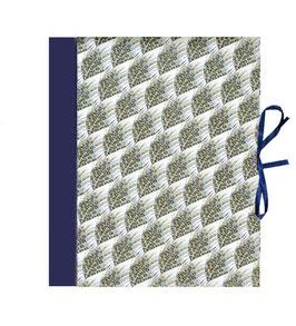 Ordner / Ringordner  DinA4  Florentiner Papier  Florentiner Papier große Federn blau grau mit Golddruck, 3 cm breit