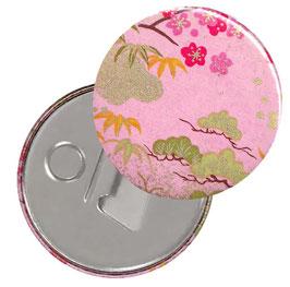 Flaschenöffner mit Magnet oder Taschenspiegel,Handspiegel  ,Button, 59 mm Durchmesser,Chiyogami Yuzen Papier,Kirschblüten Wiese rosa  grün gold