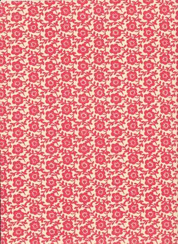 Leipziger Vorsatzpapier rotes Blumenfeld, 01