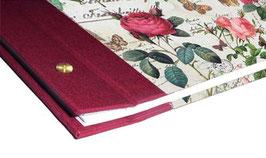 Fotoalbum Schraubalbum DinA4  , Hochformat mit offenem Buchrücken, Florentiner Papier Rosenkomposition mit Golddruck