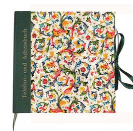 Adressbuch Telefonbuch, Florentiner Papier Ornamente bunt grün gold