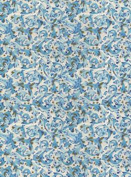 Florentiner / Italienisches Papier  50 x 70 cm Florentiner hellblau mit Golddruck