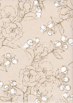 Nepal - Papier / Lokta Papier Kirschblüten natur weiß gold