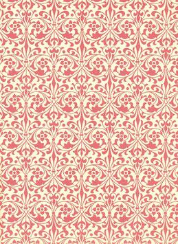 Leipziger Vorsatzpapier Blumenornamente rot,06