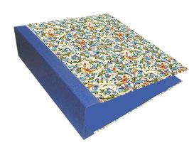 Ringordner 8 cm breit mit Hebelmechanik , Florentiner Papier,Florentiner Papier Ornamente Vögel blau gold, mit Tippklemmer