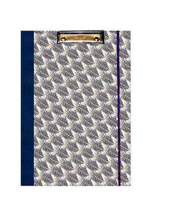 Klemmbrett Mappe DinA4 ,Florentiner Papier blau grau gold