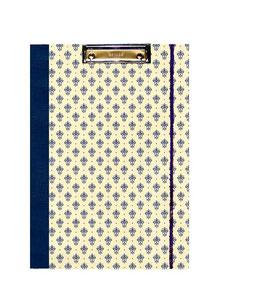 Klemmbrett Mappe DinA4 , Florentiner Papier kleine Blumenkronen blau gold