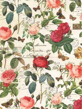 Florentiner / Italienisches Papier  50 x 70 cm, Rosenkomposition  rot rosa gold
