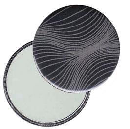 Flaschenöffner mit Magnet oder Taschenspiegel,Handspiegel  ,Button, 59 mm Durchmesser ,Zwiebelmuster grau auf schwarz