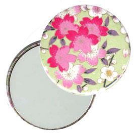 Flaschenöffner mit Magnet oder Taschenspiegel,Handspiegel  ,Button, 59 mm Durchmesser,Chiyogami Yuzen Papier,Apfelblüten hellgrün rosa