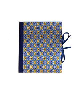 Ringbuchordner für DinA4  Blumenmuster  blau gelb, 3cm breit