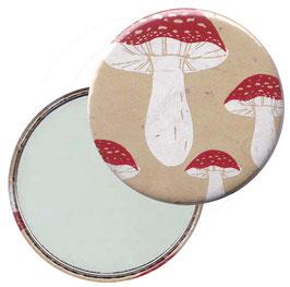Flaschenöffner mit Magnet oder Taschenspiegel,Handspiegel  ,Button, 59 mm Durchmesser, Fliegen Pilze