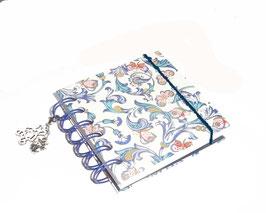 Notizbuch klein, mit blauer Ringbindung Wire-O Bindung,Ornamente Schmetterlinge