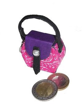Kleine Mini Tasche als Anhänger / Schlüsselanhänger pink