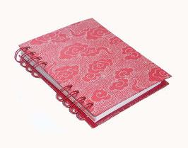 Telefonbuch / Notizbuch Din A6, mit roter Ringbindung Wire-O Bindung, Register ABC rot orange , Baumwollpapier Wolken weiß auf rot