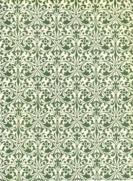 Leipziger Vorsatzpapier  Blumenornamente grün,07