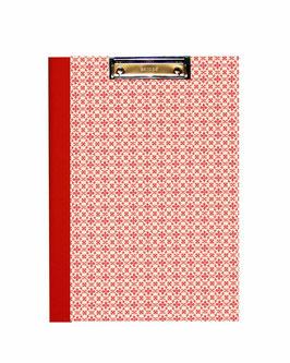 Klemmbrett Mappe DinA4 , Leibziger Vorsatzpapier kleine Blümchen rot