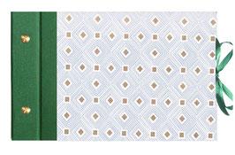 Schraubalbum Gästealbum, Din A5, Carré d´Or , mit Golddruck, grün ,Querformat,  25 Blatt weiß, 160 g/m²  DinA5