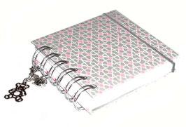Notizbuch klein, mit siberfarbiger Ringbindung Wire-O Bindung, Muster rosa grau