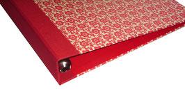 Ringordner DinA4 mit Bügelmechanik 5cm breit,Leibziger VorsatzpapierBlumenfeld  rot