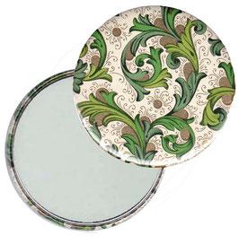 Taschenspiegel,Handspiegel, oder Flaschenöffner mit Magnet  ,Button, 59 mm Durchmesser,Florentiner Papier grün Ornamente gold