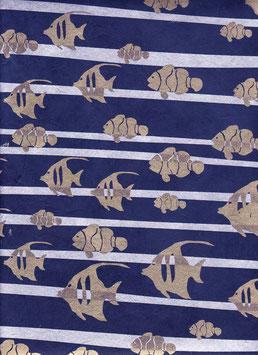 Nepal Papier / Lokta Papier goldene Fische, silberne Wellen auf dunkelblau