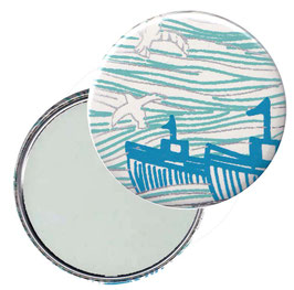 Flaschenöffner mit Magnet oder Taschenspiegel,Handspiegel  ,Button, 59 mm Durchmesser, Ozean blau silber beige