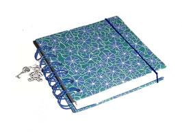 Notizbuch klein, mit blauer Ringbindung Wire-O Bindung, Baumwollpapier Poppy blau