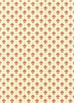 Florentiner / Italienisches Papier  50 x 70 cm Kronen Blumen dunkelrot