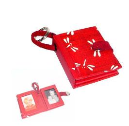 Anhänger /Schlüsselanhänger / Taschenanhänger für Fotos / Passfotos japanisches Papier Libellen rot