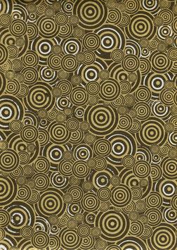 Nepal - Papier / Lokta Papier, Kreise über Kreise ebenholz silber gold