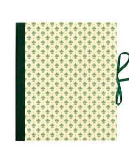 Ringordner DinA4,  2cm breit, Florentiner Papier Blumen Krönchen grün gold