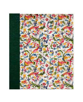 Ringordner Din A5,  2 cm breit,Florentiner Papier  Ornamente bunt grün ,zweifach Mechanik