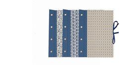 Beispiel für Auftragsarbeiten, 3 Fotoalben / Schraubalben groß mit Buchleinen blau und Leibziger Vorsatzpapier
