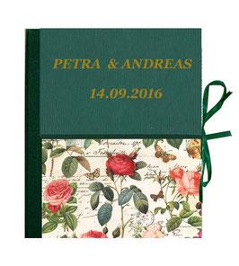 Ordner / Ringordner  DinA4  ,Florentiner Papier Rosenkomposition dunkelgrün mit Golddruck, 3 cm breit