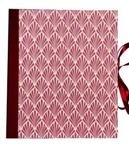 Ringbuchordner für DinA4 , 3 ,5 cm breit, Nepalpapier, Jugendstilfächer mangenta bordux