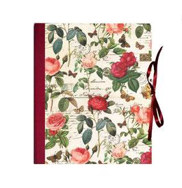 Ringordner 5 cm breit mit Hebelmechanik , Florentiner Papier Rosenkomposition rot rosa gold, mit Tippklemmer