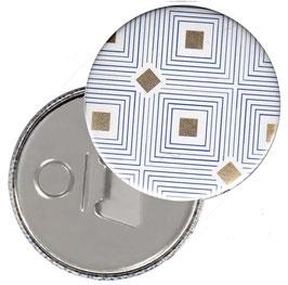 Taschenspiegel,Handspiegel, oder Flaschenöffner mit Magnet  ,Button, 59 mm Durchmesser, Carré d´Or  mit Golddruck