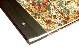 Fotoalbum Schraubalbum Din A4, Hochformat, elegante Blumen hell, olivegrün, offener Buchrücken