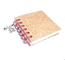 Notizbuch klein, mit roter Ringbindung Wire-O Bindung,Korkpapier grob