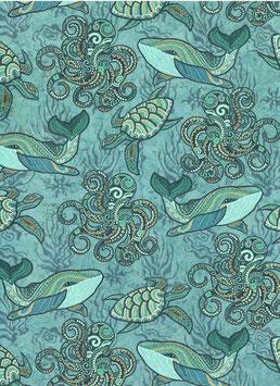 Florentiner / Italienisches Papier  50 x 70 cm Unterwasserwelt  mit Golddruck, Sea World