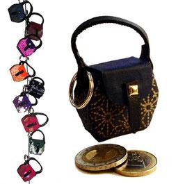 Kleine Mini Tasche als Anhänger / Schlüsselanhänger dunkelblau mit Golddruck