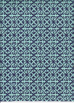 Baumwoll Papier handgeschöpft, aus Nordindien ,Barockmuster dunkelblau helltürkis