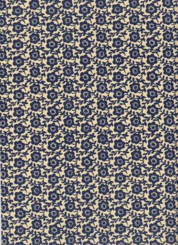 Leipziger Vorsatzpapier  blaues Blumenfeld,  02