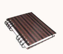 Notizbuch Din A6, mit schwarzer Ringbindung Wire-O Bindung, Baumwollpapier Blockstreifen schwarz bronce braun