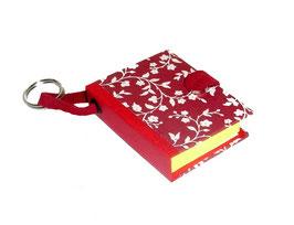 Mäppchen / Anhänger für Haftnotizen / Haftnotizzettel,Italieneische Papier bordaugh rot Blümchen