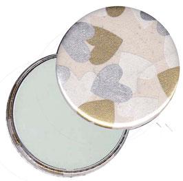 Flaschenöffner mit Magnet oder Taschenspiegel,Handspiegel  ,Button, 59 mm Durchmesser,Herzen weiß silber gold