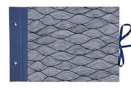 Schraubalbum Gästebuch Din A4, offener Buchrücken ,Nepal Papier ,Wellen mildes blau dunkelblau